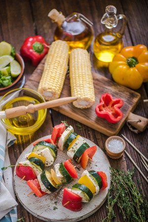 haloumi: preparation for bbq garden party with healthy food