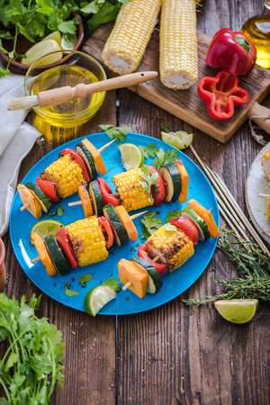 haloumi: bbq garden picnic healthy food spread on table with herbs and ingredients Stock Photo