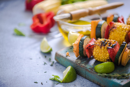haloumi: barbecued vegetables skewers with fresh herbs and lime