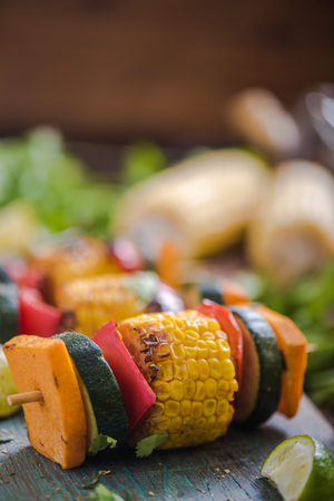 haloumi: grilled vegetable, wooden copy space background