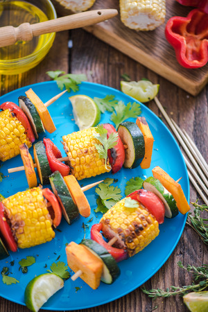 haloumi: colourful garden bbq and grill  party food on table, high angle view Stock Photo