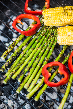 downwards: grilled vegetables on bbq, view downwards Stock Photo