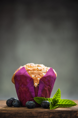 blueberry muffin: fresh blueberry muffin with copy space background overhead Stock Photo