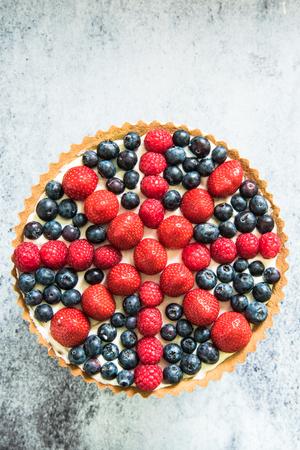 british national flag celebration cake, berries tarta from above