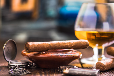 cuban culture: cuban cigar luxury concept, table shot Stock Photo
