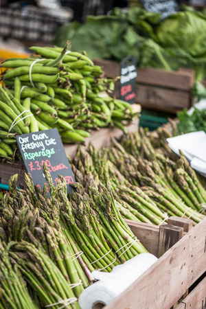 local festivals: fresh asparagus at farmers local market stall Stock Photo
