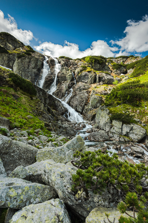 pine creek: Natural waterfall in high mountains in Tatra National Park in Poland