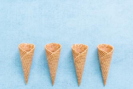 ice cream empty cones, flat lay overhead view. Reklamní fotografie - 58850401
