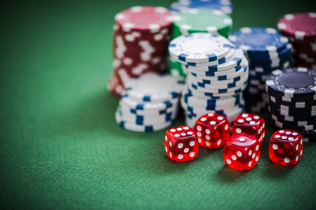 lear: casino big winner , chips and dices on table Stock Photo