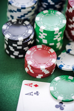 lear: winning poker cards in casino Stock Photo