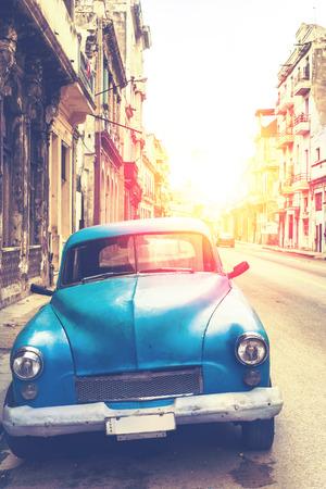 classic car in Havana, Cuba, filtered photo effect
