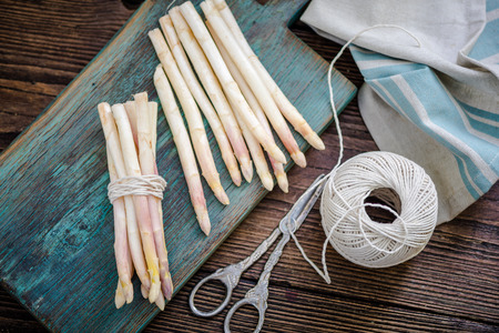 clicked: white asparagus steams on table, freshly clicked