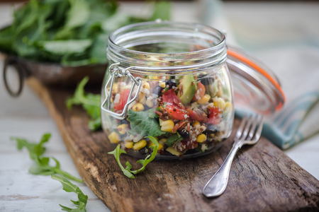 superfood dieting quinoa salad served in rustic trendy jar Stok Fotoğraf