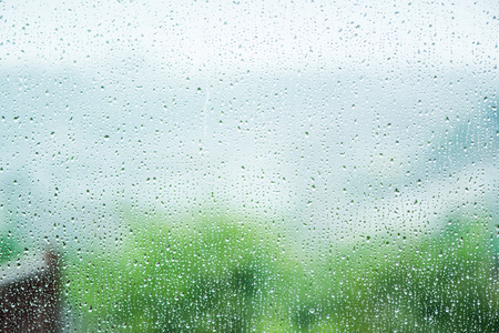 window view: rainy weather, view from window, blur bokeh Stock Photo