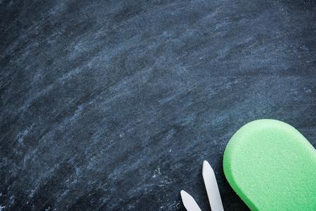 chalk eraser: chalkboard in classroom background with sponge chalk eraser Stock Photo