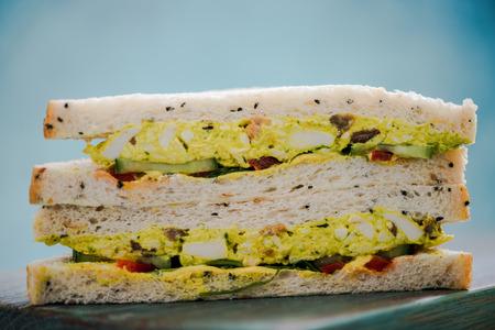 coronation: coronation chicken sandwich with white bread