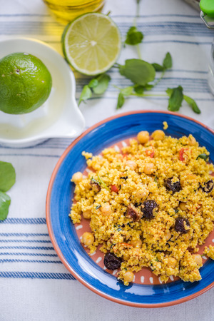 hint: healthy couscous salad, served with hint of lime