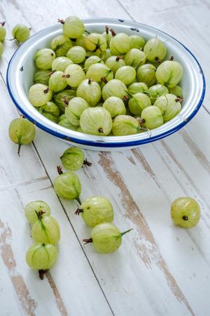 gooseberry: gooseberry on wooden table Stock Photo