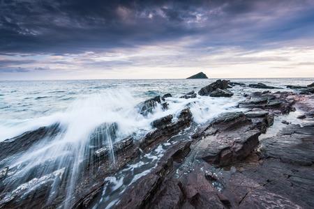 waves crashing: waves crashing at beach, stormy weather