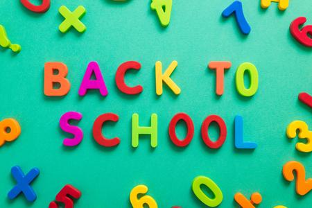 greeen: back to school letters on greeen chalkboard Stock Photo