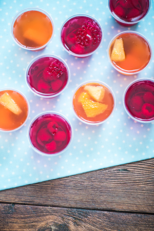 fruit jelly: sweet treat on wooden table, fruit jelly Stock Photo