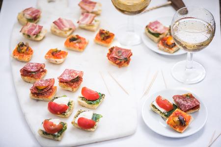 antipasti: spanish or italian snack antipasti and wine Stock Photo