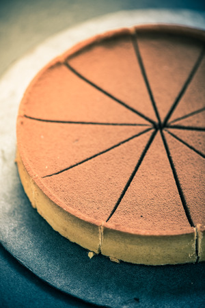 tort: perfectly sliced chocolate cake with cocoa,vintage tonned effect
