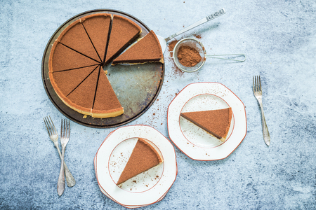 serving chocolate tort on plate , overhead view