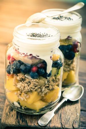 fruity salad: heathy breakfast fruity salad ,vintage tonned effect