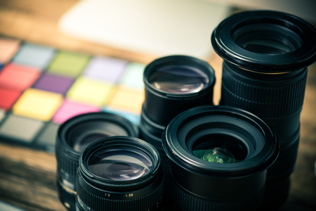 Professional photography equipment, lenses and color card checker Stock Photo