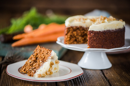 slicing carrot cake, natural moody and soft light image