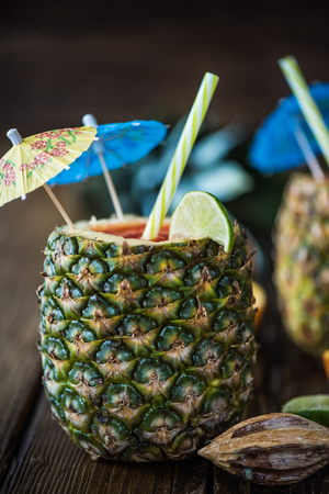 creative concept for tropical party drinks, pineapple exotic coctail Stock Photo