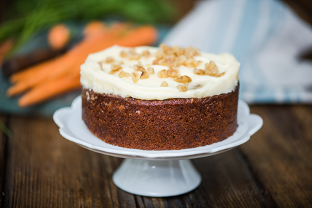 icing: homemade fresh carrot cake with icing decorations