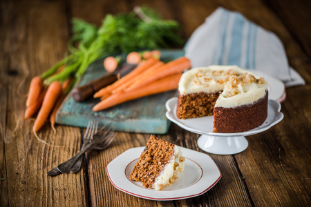 serving carrot cake portion, natural moody light