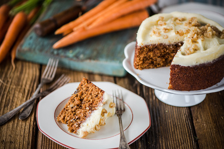 moody: serving carrot cake portion, natural moody light