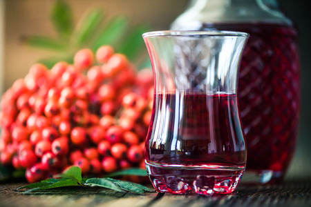 Rowanberry natural tincture for winter, with ashberry fruits