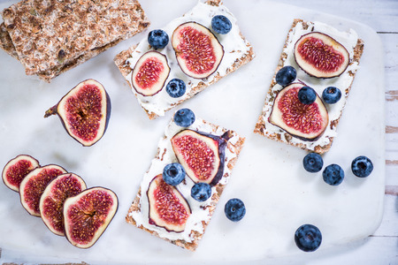 Healthy bruch with figs and crispy bread,clean eating Stock Photo