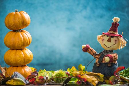 joyfull: Farmer show autumnal harvest and pumpkins, copy space