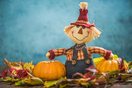 joyfull: Scarecrow farmer show autumn harvest, copy space Stock Photo