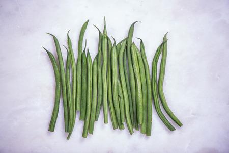 snap bean: Bunch of fresh green beans strings