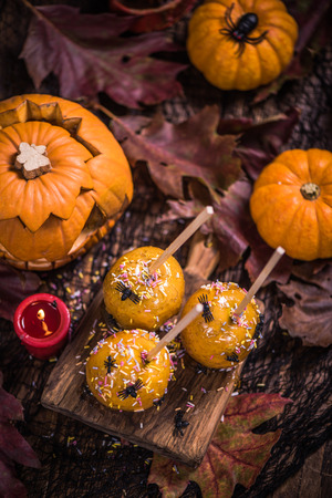 sweet treat: Halloween sweet treat, apple candy in caramel with spiders and worms