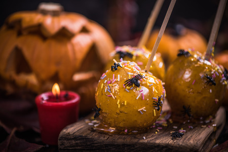 Halloween sweet treat, apple candy in caramel with spiders and worms