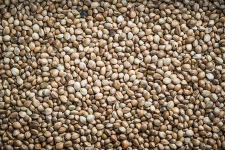 forbidden love: Close up view on hemp seeds, overhead