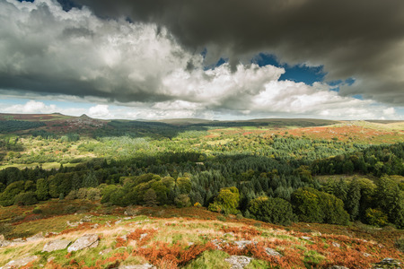 Sheeptor panoramic vista over wilderness and countryside in Dartmoor, UK at fall
