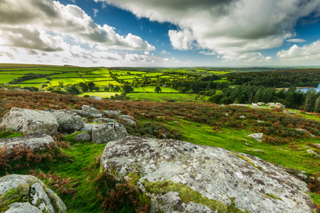 Panoramic vista over Dartmoor at fall, dramatic sky