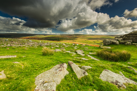 heathland: Panoramic wide view from Dartmoor Tor, dramatic sky and autumn colors
