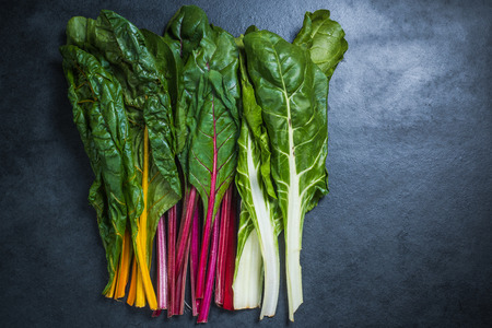 chard: Rainbow chard , colorful eating and healthy diet Stock Photo