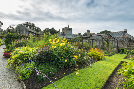 Formal garden in Buckland Abbey,Devon,UK. British heritage site. Editorial