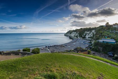 Panoramic view over Beer traditional fishermen village in Devon,UK