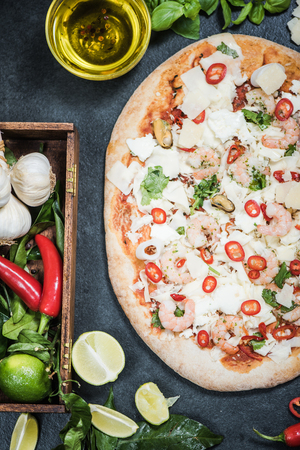woodfired: wood fired handmade pizza with seafood and other ingredients